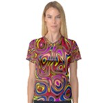 Abstract Shimmering Multicolor Swirly Women s V-Neck Sport Mesh Tee