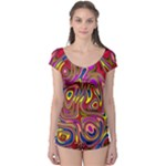 Abstract Shimmering Multicolor Swirly Boyleg Leotard