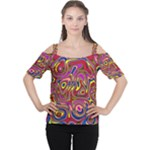 Abstract Shimmering Multicolor Swirly Women s Cutout Shoulder Tee