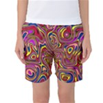 Abstract Shimmering Multicolor Swirly Women s Basketball Shorts