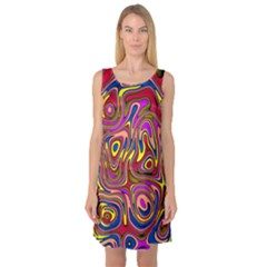 Abstract Shimmering Multicolor Swirly Sleeveless Satin Nightdress by designworld65