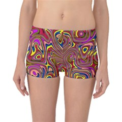 Abstract Shimmering Multicolor Swirly Boyleg Bikini Bottoms by designworld65