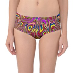 Abstract Shimmering Multicolor Swirly Mid Waist Bikini Bottoms by designworld65