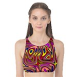 Abstract Shimmering Multicolor Swirly Tank Bikini Top