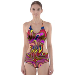 Abstract Shimmering Multicolor Swirly Cut Out One Piece Swimsuit by designworld65