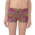 Abstract Shimmering Multicolor Swirly Reversible Boyleg Bikini Bottoms
