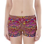 Abstract Shimmering Multicolor Swirly Boyleg Bikini Wrap Bottoms