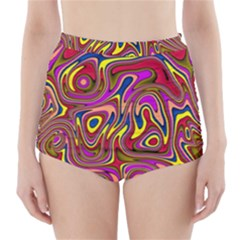 Abstract Shimmering Multicolor Swirly High Waisted Bikini Bottoms by designworld65