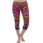 Abstract Shimmering Multicolor Swirly Capri Yoga Leggings