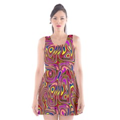 Abstract Shimmering Multicolor Swirly Scoop Neck Skater Dress by designworld65