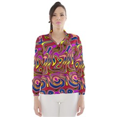 Abstract Shimmering Multicolor Swirly Wind Breaker (women) by designworld65