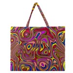 Abstract Shimmering Multicolor Swirly Zipper Large Tote Bag