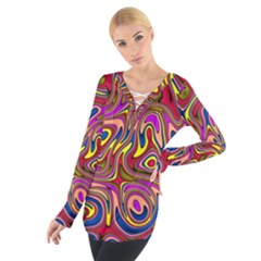 Abstract Shimmering Multicolor Swirly Women s Tie Up Tee by designworld65