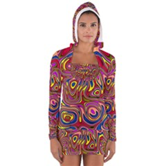 Abstract Shimmering Multicolor Swirly Women s Long Sleeve Hooded T Shirt by designworld65