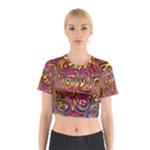 Abstract Shimmering Multicolor Swirly Cotton Crop Top