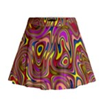 Abstract Shimmering Multicolor Swirly Mini Flare Skirt