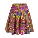 Abstract Shimmering Multicolor Swirly High Waist Skirt