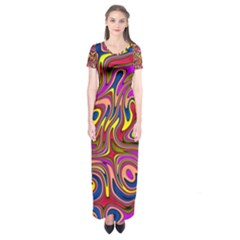 Abstract Shimmering Multicolor Swirly Short Sleeve Maxi Dress by designworld65