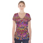 Abstract Shimmering Multicolor Swirly Short Sleeve Front Detail Top