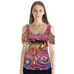 Abstract Shimmering Multicolor Swirly Butterfly Sleeve Cutout Tee