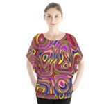 Abstract Shimmering Multicolor Swirly Blouse