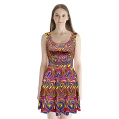 Abstract Shimmering Multicolor Swirly Split Back Mini Dress  by designworld65