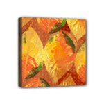 Fall Colors Leaves Pattern Mini Canvas 4  x 4
