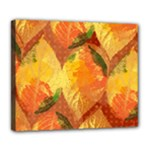 Fall Colors Leaves Pattern Deluxe Canvas 24  x 20