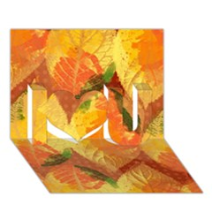 Fall Colors Leaves Pattern I Love You 3d Greeting Card (7x5) by DanaeStudio