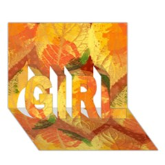 Fall Colors Leaves Pattern Girl 3d Greeting Card (7x5) by DanaeStudio