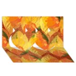 Fall Colors Leaves Pattern Twin Hearts 3D Greeting Card (8x4)