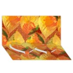 Fall Colors Leaves Pattern Twin Heart Bottom 3D Greeting Card (8x4)