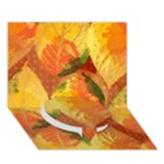 Fall Colors Leaves Pattern Circle Bottom 3D Greeting Card (7x5)