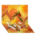 Fall Colors Leaves Pattern LOVE Bottom 3D Greeting Card (7x5)