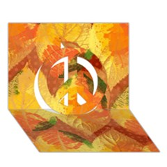 Fall Colors Leaves Pattern Peace Sign 3d Greeting Card (7x5) by DanaeStudio
