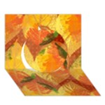 Fall Colors Leaves Pattern Circle 3D Greeting Card (7x5)