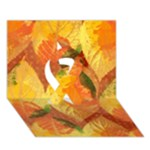 Fall Colors Leaves Pattern Ribbon 3D Greeting Card (7x5)