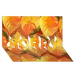 Fall Colors Leaves Pattern SORRY 3D Greeting Card (8x4)