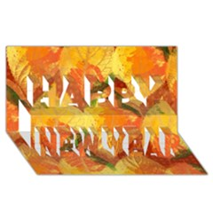 Fall Colors Leaves Pattern Happy New Year 3d Greeting Card (8x4) by DanaeStudio