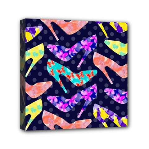 Colorful High Heels Pattern Mini Canvas 6  X 6  by DanaeStudio