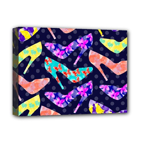 Colorful High Heels Pattern Deluxe Canvas 16  X 12   by DanaeStudio