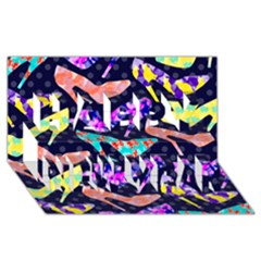 Colorful High Heels Pattern Happy New Year 3d Greeting Card (8x4) by DanaeStudio