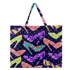 Colorful High Heels Pattern Zipper Large Tote Bag by DanaeStudio