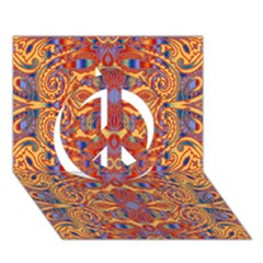 Oriental Watercolor Ornaments Kaleidoscope Mosaic Peace Sign 3d Greeting Card (7x5) by EDDArt