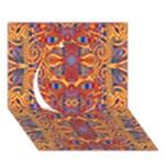 Oriental Watercolor Ornaments Kaleidoscope Mosaic Circle 3D Greeting Card (7x5)