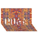 Oriental Watercolor Ornaments Kaleidoscope Mosaic HUGS 3D Greeting Card (8x4)