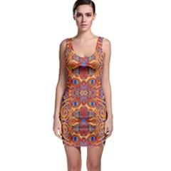 Oriental Watercolor Ornaments Kaleidoscope Mosaic Sleeveless Bodycon Dress by EDDArt