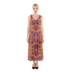 Oriental Watercolor Ornaments Kaleidoscope Mosaic Sleeveless Maxi Dress by EDDArt