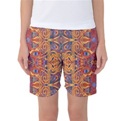 Oriental Watercolor Ornaments Kaleidoscope Mosaic Women s Basketball Shorts by EDDArt