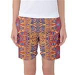 Oriental Watercolor Ornaments Kaleidoscope Mosaic Women s Basketball Shorts